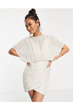 ASOS Linear embellished mini dress with wrap skirt-White