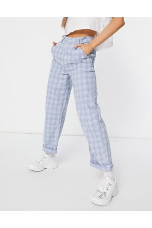 ASOS Ženy Chino - Slouchy chino trouser in light blue check