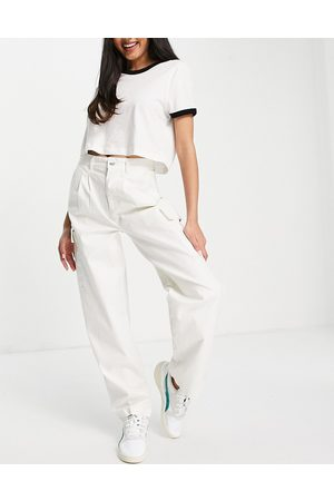 ASOS Pleat front chino with cargo pockets in white