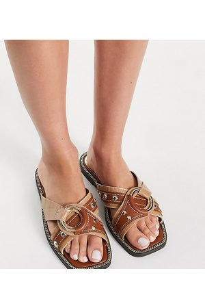 River Island Wide Fit hardware crossover sandal in brown