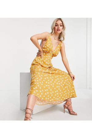 ASOS ASOS DESIGN Petite plunge neck with elasticated straps maxi dress in yellow print-Multi