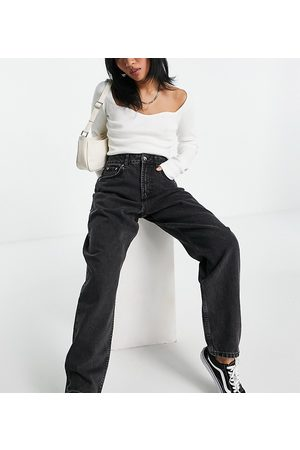 ASOS ASOS DESIGN Petite high rise 'slouchy' mom jeans in washed black