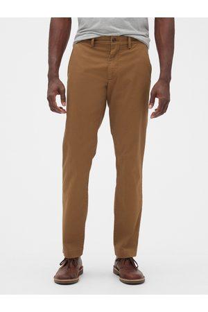 GAP Hnědé pánské kalhoty essential khakis in straight fit with Flex