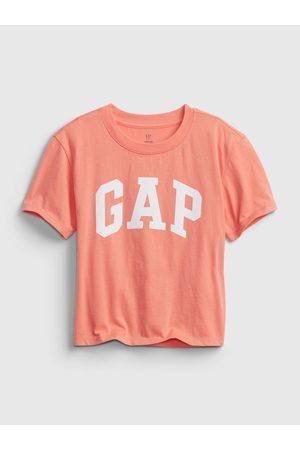 GAP Oranžové holčičí dětské tričko Logo short sleeve t-shirt