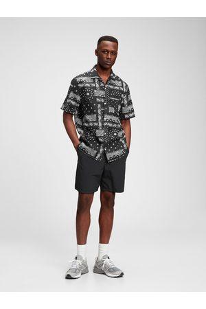 GAP Černá pánská košile short sleeve camp collar