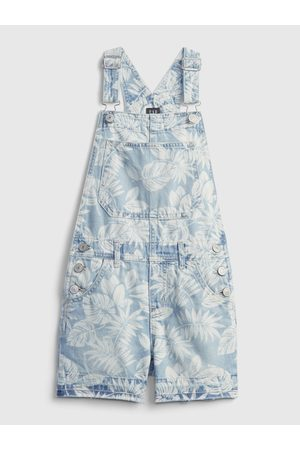 GAP Modré holčičí dětské kraťasy s laclem palm print shortall