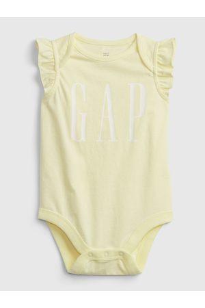 GAP Žluté holčičí baby body Logo arch suit