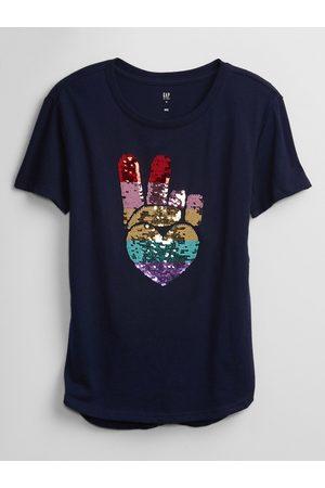 GAP Modré holčičí dětské tričko flippy sequin graphic t-shirt