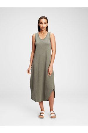 GAP Zelené dámské šaty scoopneck sleeveless midi dress
