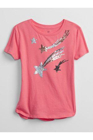 GAP Růžové holčičí dětské tričko flippy sequin graphic t-shirt