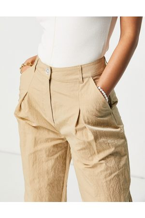 ASOS Wide leg trouser in texured camel-Brown