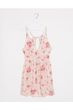ASOS DESIGN Tiered mini sundress with lace inserts in wallpaper floral print-Multi