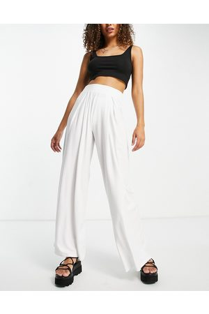 ASOS DESIGN Ženy Široké nohavice - Basic wide leg jersey trouser in white