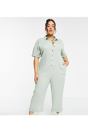 ASOS Muži Overaly dlouhé - ASOS DESIGN curve button through chuck on shirt jumpsuit in sage-Green