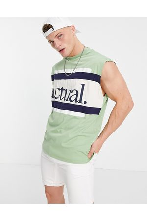 ASOS Actual Oversized vest with horizontal stripe detail and logo print in green