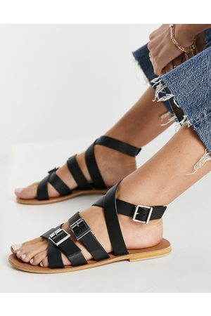 ASOS Ženy Sandály - Fion leather gladiator sandals in black