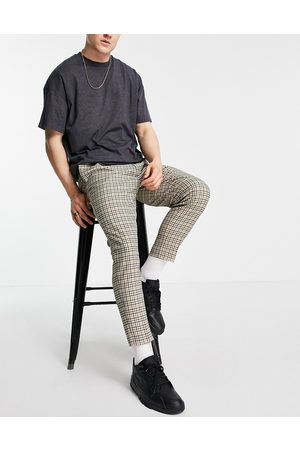 ASOS Muži Chino - Tapered smart trousers in stone check-Neutral