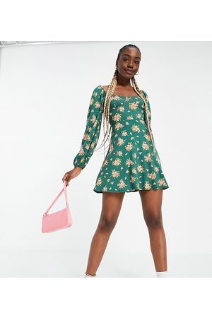ASOS Ženy Volnočasové - ASOS DESIGN Tall mini tea dress with long sleeves and cup detail in forest green floral