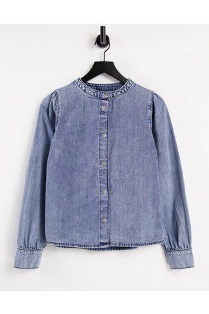 JDY Dortea puff sleeve collarless denim shirt in medium blue denim
