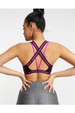Under Armour Training crossback mid support sports bra in purple shine