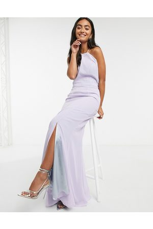 chi chi london High neck lace back maxi dress in lilac-Purple