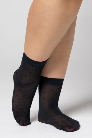 MONA QUEEN Ženy Ponožky - Punčochové ponožky Plus Size Dots 30 DEN