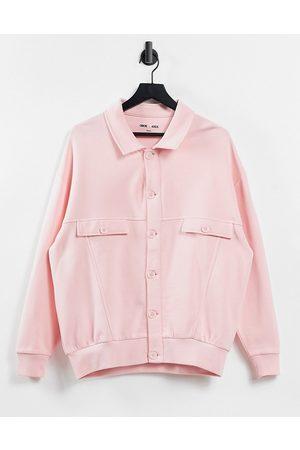 ASOS Unisex shacket in brushed back-Pink