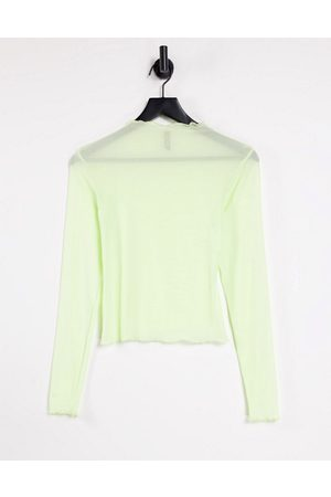Pieces Magda long sleeve mesh top in white jade-Green