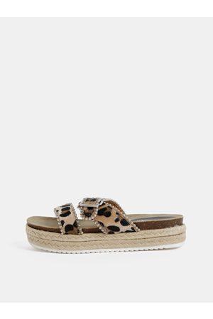 Hailys Béžové dámské pantofle s leopardím vzorem Haily´s Leo