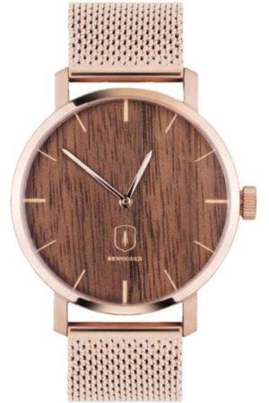 BeWooden Dřevěné hodinky Rose Watch s řemínkem z pravé kůže