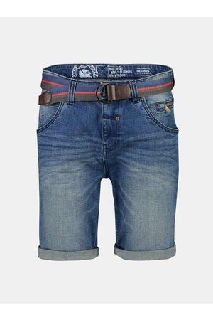 Lerros Modré pánské džínové kraťasy s páskem