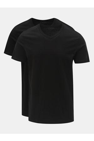 JACK & JONES Sada dvou černých basic triček s véčkovým výstřihem