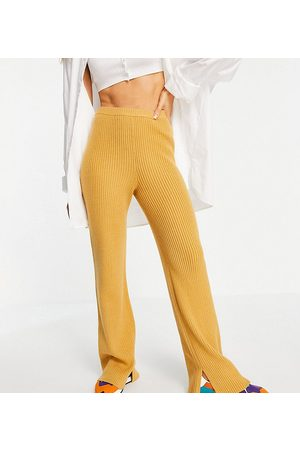 M Lounge Relaxed knitted trousers with split co-ord-Brown