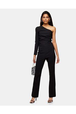 Topshop Bengaline flare trouser in black