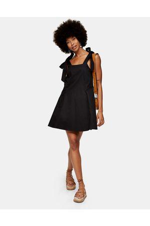 Topshop Tie-detail mini swing dress in black