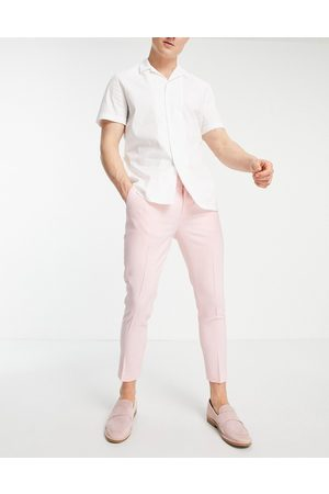 ASOS Muži Chino - Super skinny smart trouser in pink cross hatch