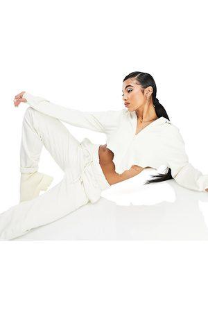 AsYou Ženy Tepláky - Co-ord low rise roll waist jogger in ecru-White