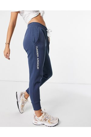 Under Armour Ženy Tepláky - Rival fleece embroidered joggers in blue