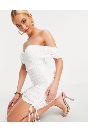 ASOS Off shoulder corset broderie ruched mini dress in white