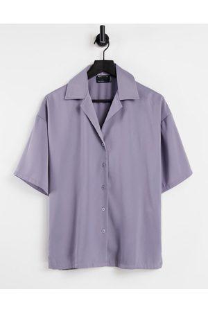 ASOS Ženy Pyžama - Relaxed pyjama suit shirt in lilac-Purple