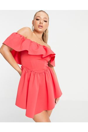 ASOS Off shoulder corset ruffle skater mini dress in coral-Pink