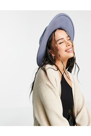 ASOS Ženy Klobouky - Felt fedora hat with wide brim in blue with size adjuster
