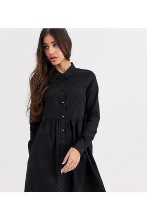 ASOS Ženy Volnočasové - ASOS DESIGN Tall cotton mini smock shirt dress in black