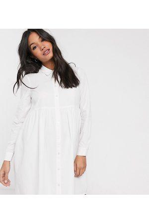 ASOS Ženy Volnočasové - ASOS DESIGN Maternity cotton mini smock shirt dress in white