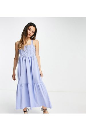 ONLY Exclusive maxi dress with lace detail in blue