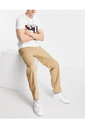 Tommy Hilfiger Muži Chino - Skater straight fit tonal houndstooth print trousers in khaki beige-Neutral