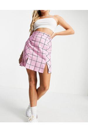 NA-KD Ženy Krátké - Side split mini skirt in check-Multi