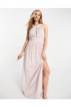 TFNC Ženy Maxi - Bridesmaid pleated maxi dress in mink-Pink