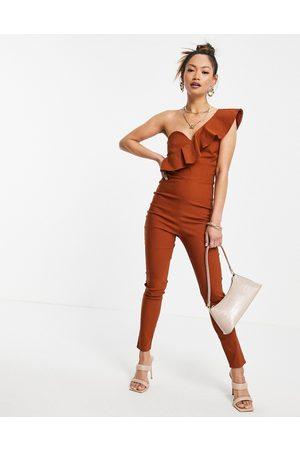 Vesper Ženy Overaly dlouhé - One shoulder frill jumpsuit in ginger-Copper