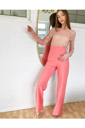 Vesper Two in one lace detail jumpsuit in coral-Pink